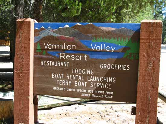 Vermilion Valley Resort's road sign.